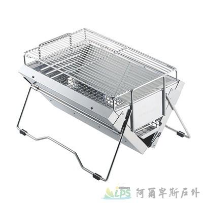 [阿爾卑斯戶外/露營] 土城 UNIFLAME UNICERA TG-III 折疊不鏽鋼桌上型烤肉爐與收納袋 615010