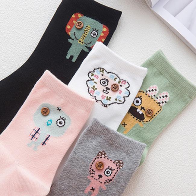 50%OFF【W018396SK】COCO VANILLA 秋冬襪子批發 純棉個性紐扣卡通女襪 潮流襪子 棉襪
