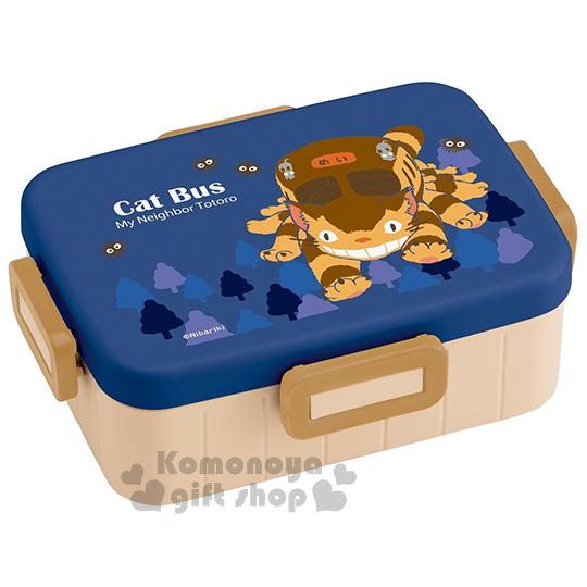 〔小禮堂〕宮崎駿 Totoro龍貓 日製四面扣便當盒《藍棕.貓公車.樹.650ml》可微波加熱
