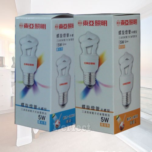 《東亞》5W半螺旋燈泡120V 晝光色 / 燈泡色