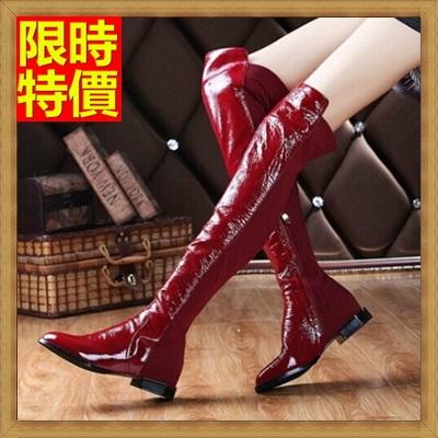 過膝長靴 女鞋子-內增高時尚亮漆皮性感低跟真皮女靴子3色71ab16【獨家進口】【米蘭精品】