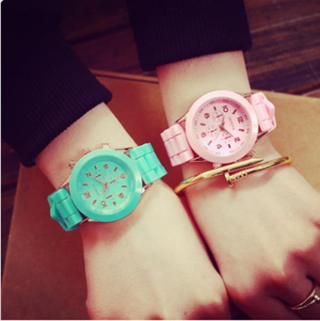50%OFF【H013646WAH】韓國女生學生閨蜜姐妹軟妹原宿韓版簡約時尚休閒果凍手錶潮薄荷綠附錶盒