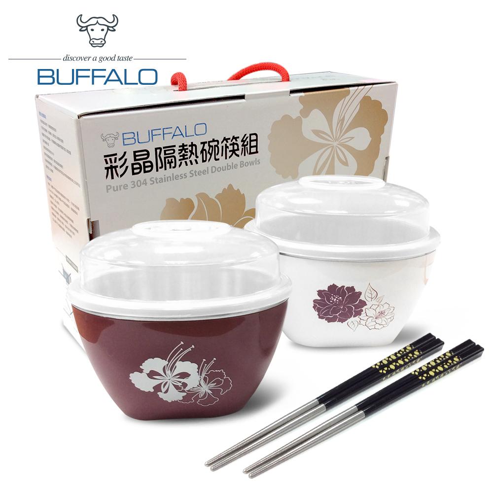 《碗筷禮盒組》【牛頭牌】彩晶隔熱碗/筷子組-百合+牡丹 AM1Z031