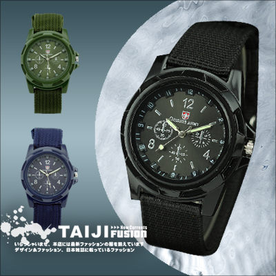 TAIJI【ATJBS170】街頭風格‧帆布錶帶質感軍款腕錶‧一色‧皮革/字母/編織/雷朋