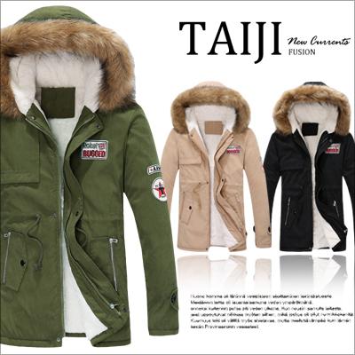 鋪棉外套【NTJBA72】美式風格‧情侶款星星貼章加厚鋪棉毛邊連帽外套‧三色‧設計/美式/軍裝/潮流