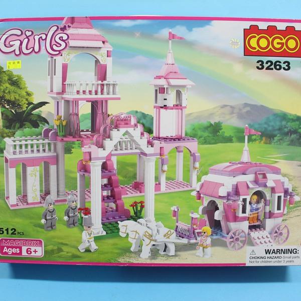 COGO積木 3263 童話公主系列-城堡公主王子馬車(紅色房子) 益智積木 約516片/一盒入{促1000}~可與樂高混拼裝