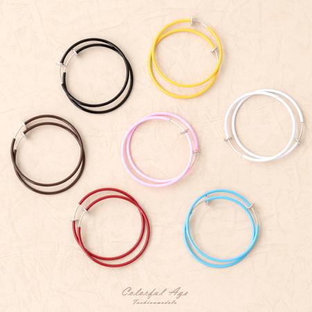 夾式耳環 街頭潮流 4CM彩色圓圈彈簧式耳夾耳環 繽紛百搭單品 柒彩年代【ND296】一對價格