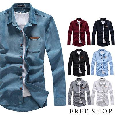 Free Shop【QJFK3412】日韓系基本款皮標口袋素色素面簡約牛津工作襯衫長袖襯衫‧七色