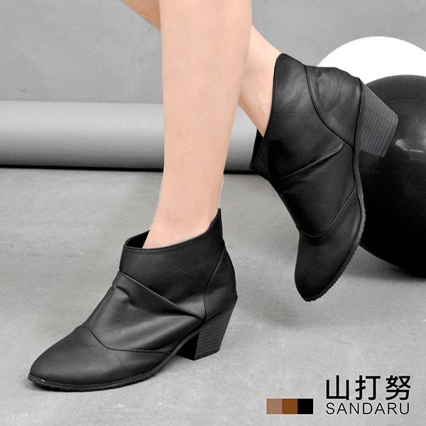踝靴 尖頭皮革後V低跟靴*- 山打努SANDARU【2467392#26】