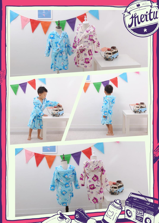 秋季新品兒童浴袍韓版卡通小熊法蘭絨家居服兒童浴衣