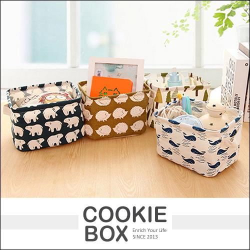 日韓 田園 桌面 收納 雜物籃 棉麻 收納盒 零食籃 布質 雜物 飾品 化妝品 整理 *餅乾盒子*