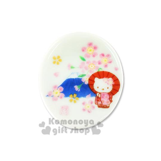 〔小禮堂〕 Hello Kitty 日製陶瓷筷架《白.站姿.櫻花.富士山》日系和風