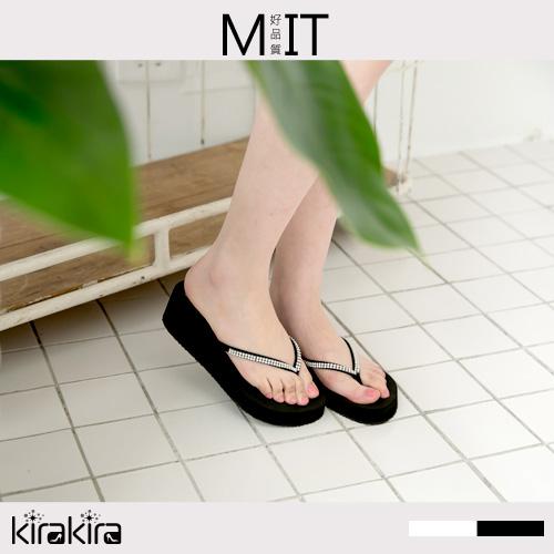 夾腳拖鞋  SALE 絢麗水鑽素面楔型夾腳拖鞋
