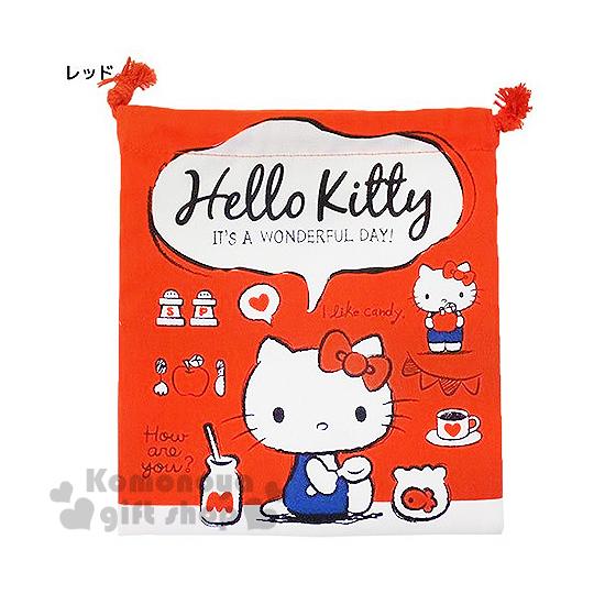 〔小禮堂〕Hello Kitty 棉質束口袋《紅.蘋果.牛奶.咖啡》