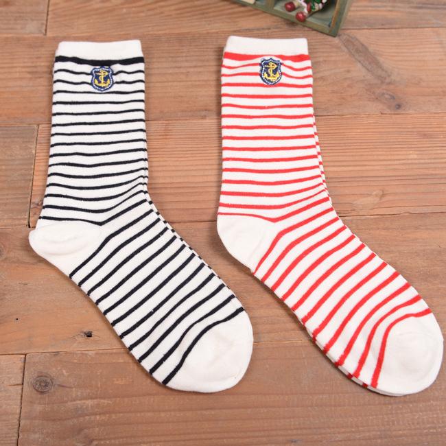 日系海軍風條紋刺繡中筒襪