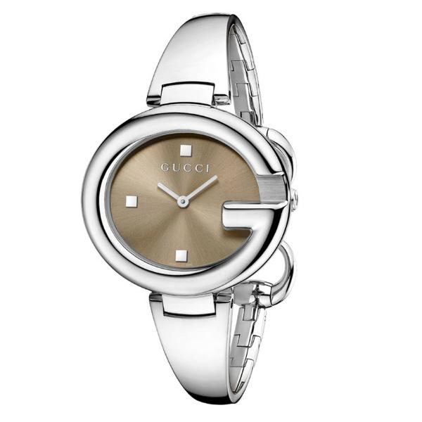 Gucci 古吉YA134302經典G型手環時尚腕錶/咖啡面36mm