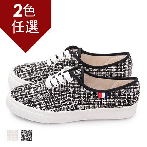 FUFA MIT 毛呢格紋休閒鞋(U47) - 共兩色