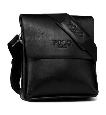 POLO FANKE 真皮品牌經典男包系列直式-黑色