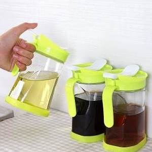 美麗大街【BF316E21E859】绿色小清新可控玻璃油壶厨房调味瓶 550ml