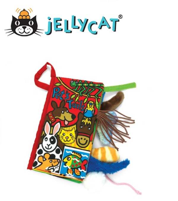 ★啦啦看世界★ Jellycat 英國玩具 / 寵物尾巴 Pet Tails Book 感官刺激布書