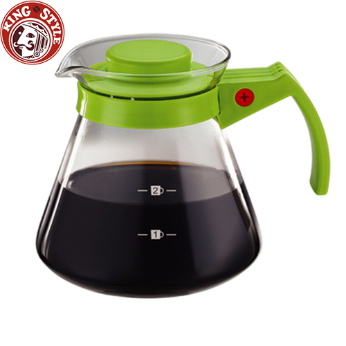 金時代書香咖啡 Tiamo 玻璃咖啡壺 300cc/2杯 綠色 弧型把手
