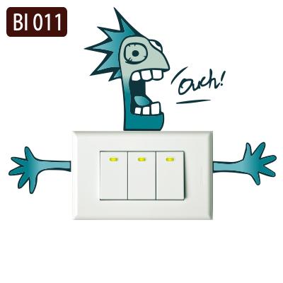 創意時尚無痕環保PVC壁貼牆貼彩色BI011觸電Ouch開關貼防水不傷牆面可重覆撕貼