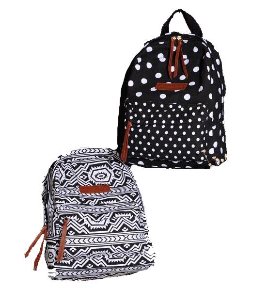 American Eagle TM 黑白點點/圖驣 休閒時尚美帆布後背包雙肩背包電腦包親子包旅行旅遊包登山包情侶包