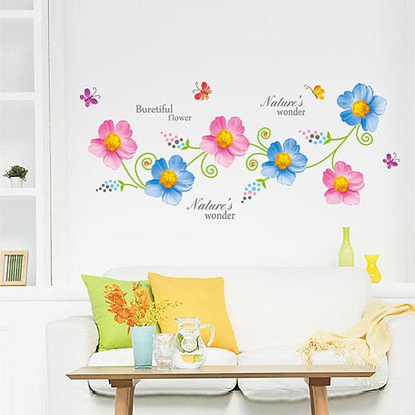 BO雜貨【YV4065】創意可移動壁貼 牆貼 背景貼 壁貼樹 時尚組合壁貼 璧貼 藍粉色花卉