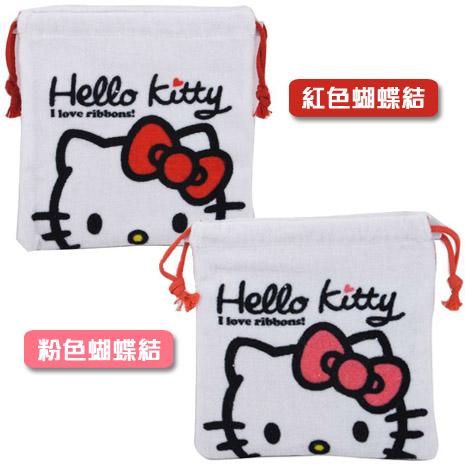 Hello Kitty 毛巾布束口袋/縮口袋