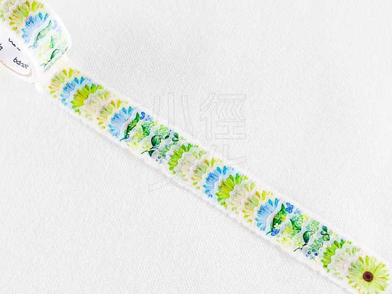 *小徑文化*日本進口 NICO Bande 和紙貼紙 迷你花朵 系列 - 非洲菊_綠色 ( BDA181 )