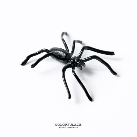 耳環 超立體蜘蛛造型穿式耳針 假擴耳龐克風 鋼針抗過敏抗氧化 柒彩年代【ND230】一對價格