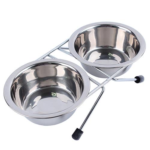 【小樂寵】防滑鐵支架不鏽鋼餐碗(附雙碗)