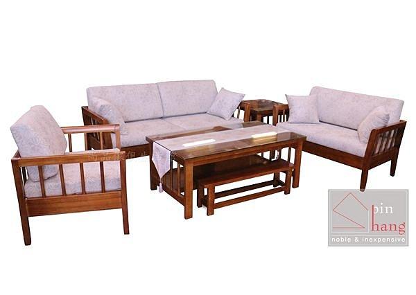 【尚品傢俱】837-01 奧維德 南檜全實木1+2+3+大小茶几木椅組(含玻.含椅墊) /木組椅