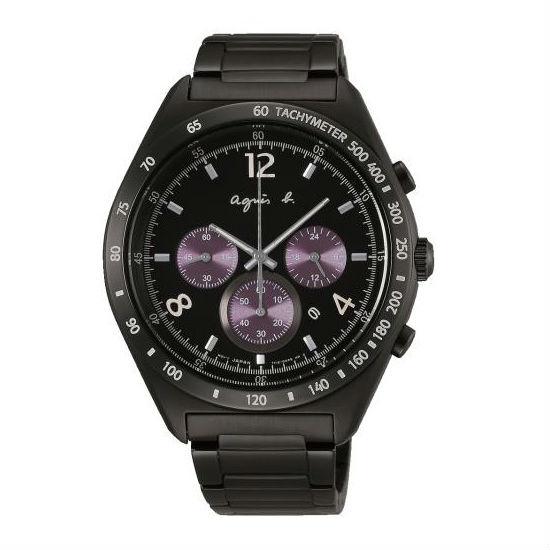 agnes b 7T12-0AP0T(BW8004P1)法式時尚風計時腕錶/黑面42mm