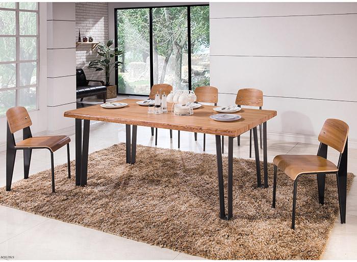 【尚品傢俱】HY-A410-01 漢斯6尺自然邊全實木黑腳餐桌