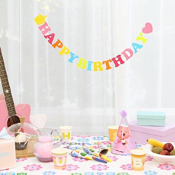 =優生活=HAPPY BIRTHDAY字母空中吊飾生日派對節日裝飾掛飾不織布多彩旗幟 生日佈置 派對佈置 野餐佈置 房間佈置