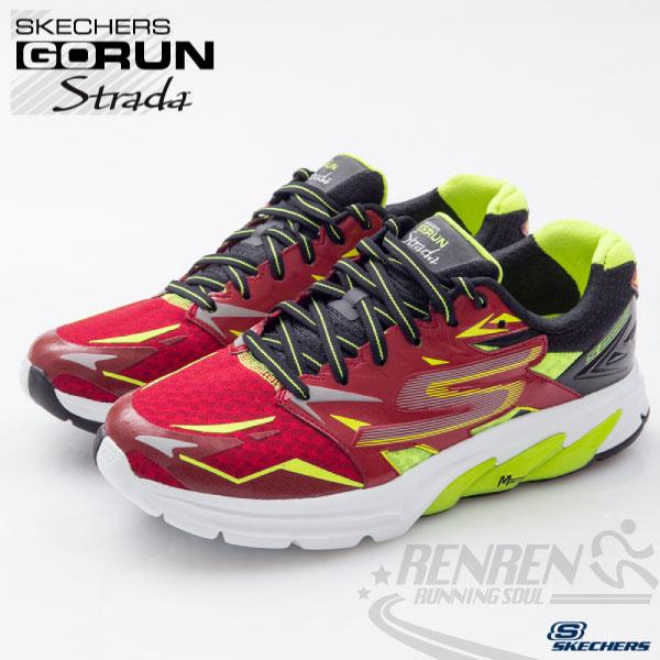 SKECHERS 男慢跑鞋GORUN Strada (紅*萊姆) 超輕量避震緩衝中底