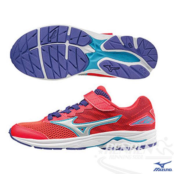 MIZUNO美津濃 WAVE RIDER 20 Jr.V. 黏貼帶式童鞋(紅*白*藍)