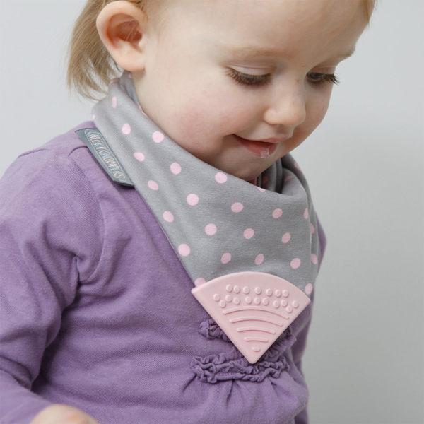 英國 [Cheeky Chompers] Neckerchews 咬咬兜/口水巾/三角巾/固齒器 - 波卡粉點  哺育用品