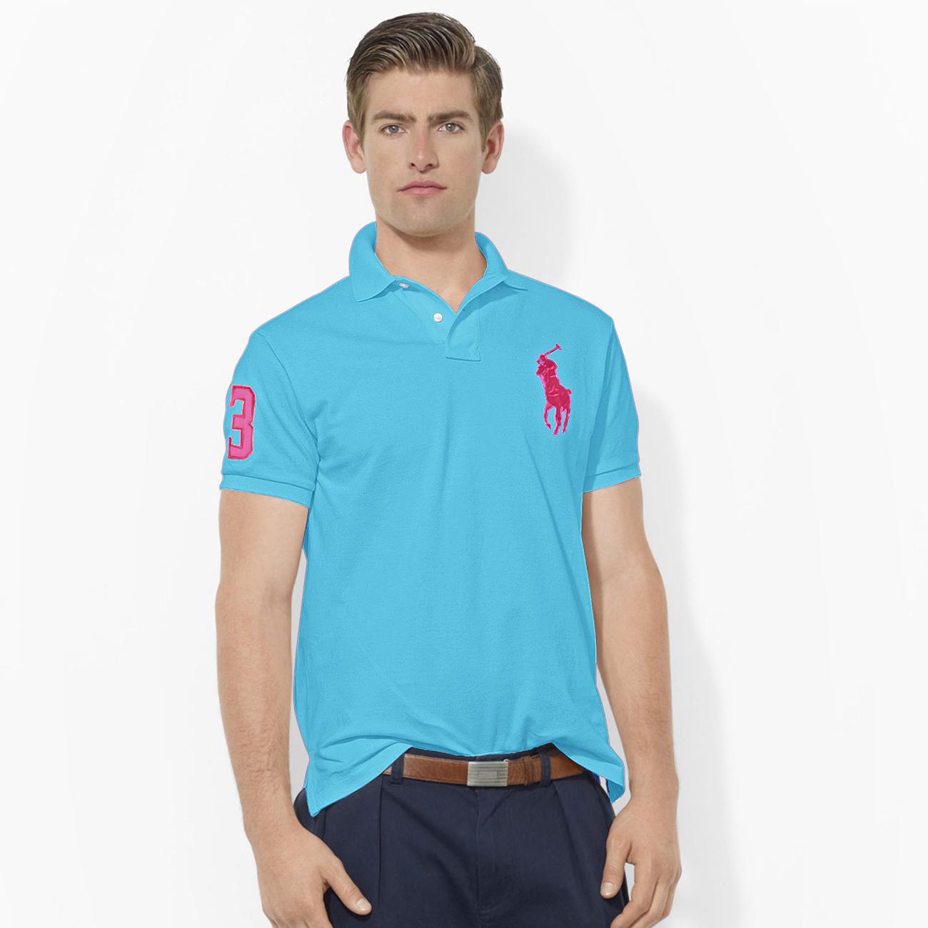 美國百分百【Ralph Lauren】Polo 衫 RL 短袖 網眼 大馬 素面 水藍 男 S XS號 B003