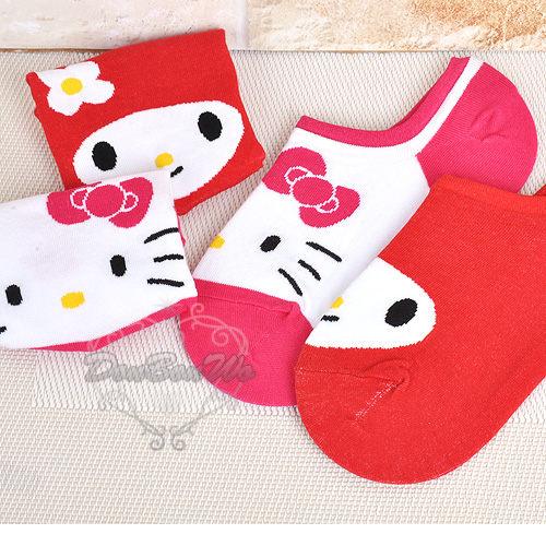 kitty美樂蒂船型襪子矽膠止滑短襪紅大臉美110109凱110093海渡