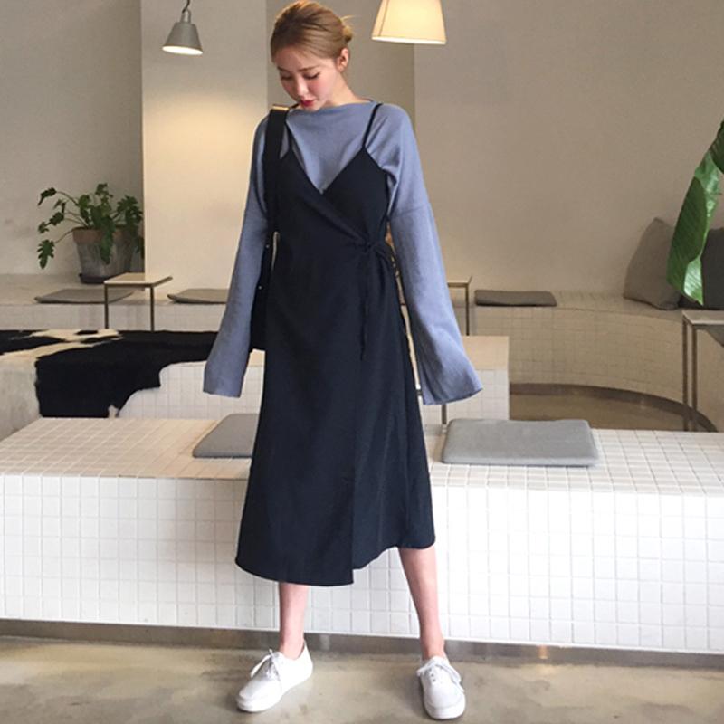 PS Mall 蝴蝶結開襟繫帶吊帶裙連身裙 洋裝【T2867】