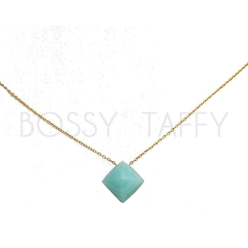 MICHAEL KORS 粉綠石金字塔墜飾時尚金項鍊 MK Gold-Tone Pyramid Pendant Necklace