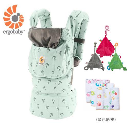 【 贈三角固齒安撫巾+嬰兒包巾】美國【 Ergobaby 】原創基本款嬰兒揹巾-海藍艦隊