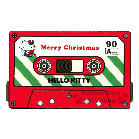 〔小禮堂〕Hello Kitty 造型硬式聖誕卡片《紅.卡帶型.綠黃斜條紋.坐姿.拿蝶結》附信封