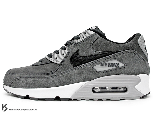 NSW 經典復刻鞋款 人氣商品 2015 NIKE AIR MAX 90 LEATHER LTR 灰黑 灰黑白 麂皮 慢跑鞋 (652980-012) !