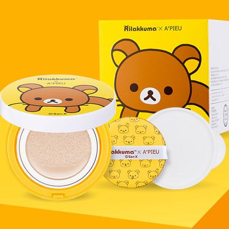 韓國 A'PIEU x 拉拉熊聯名款 氣墊粉餅1+1組合 附補充蕊 Rilakkuma A pieu Apieu【B062026】