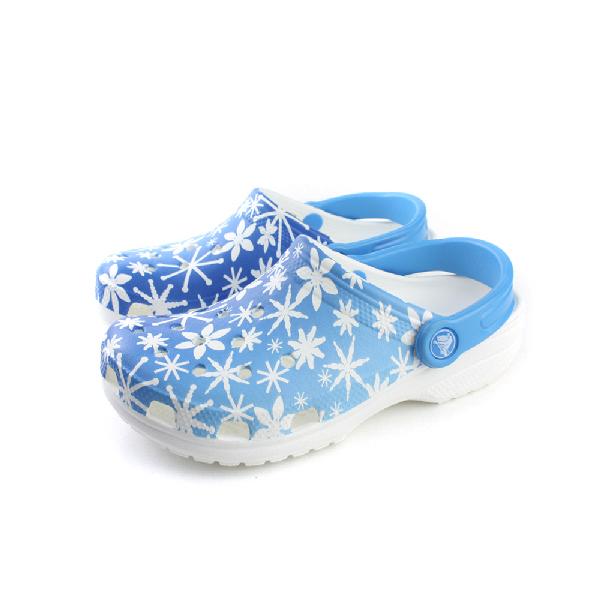 Crocs 涼鞋 藍 白花 女鞋 no343