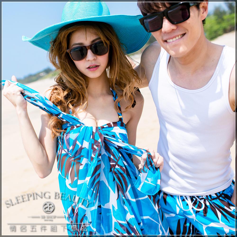 SB SHOP。熱帶天堂。韓國情侶五件組。【鋼圈比基尼+男&女海灘褲+沙龍ch0024-5】
