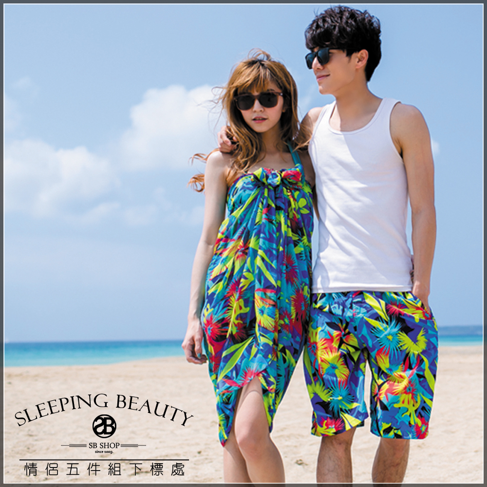 SB SHOP。熱舞巴西。韓國情侶五件組。【鋼圈比基尼+男&女海灘褲+沙龍ch0034-5】泳裝